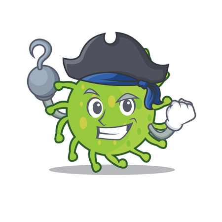Pirate green bacteria character cartoon