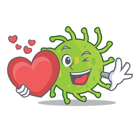 With heart green bacteria mascot cartoon