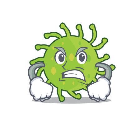 Angry green bacteria mascot cartoon Illustration