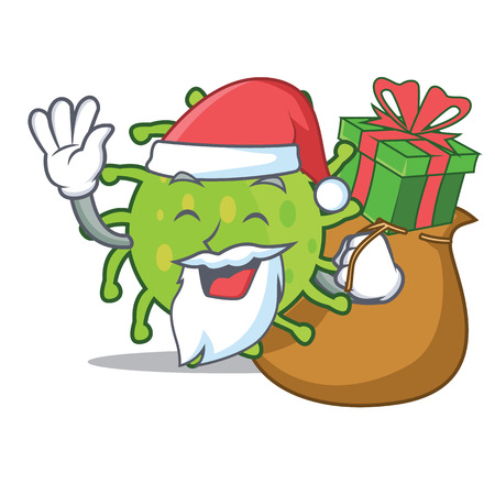 Santa with gift green bacteria mascot cartoon.