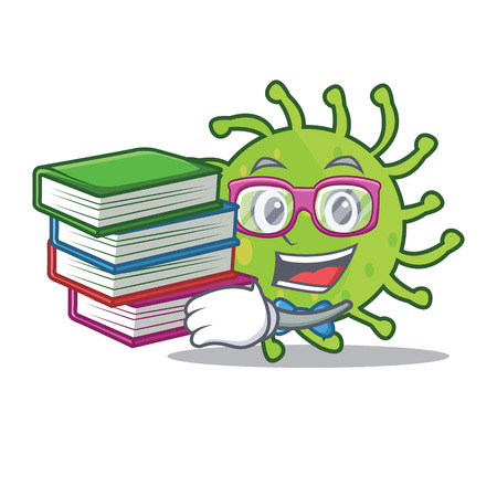 Student with book green bacteria mascot cartoon Illustration