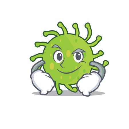 Smirking green bacteria character cartoon