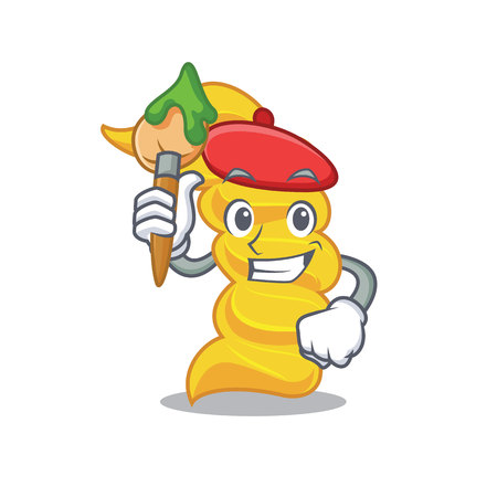 Artist fusilli pasta character cartoon
