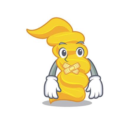 Silent fusilli pasta mascot cartoon