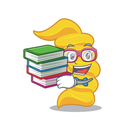 Student with book fusilli pasta mascot cartoon
