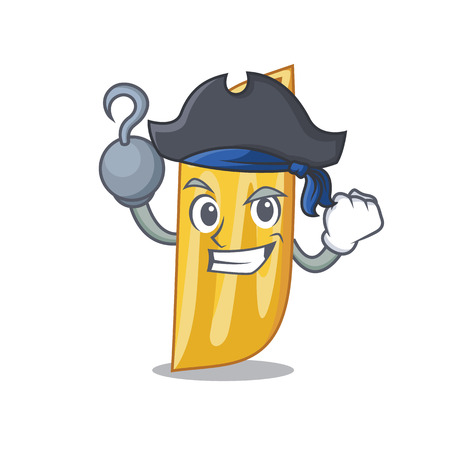 Pirate penne pasta character cartoon vector illustration