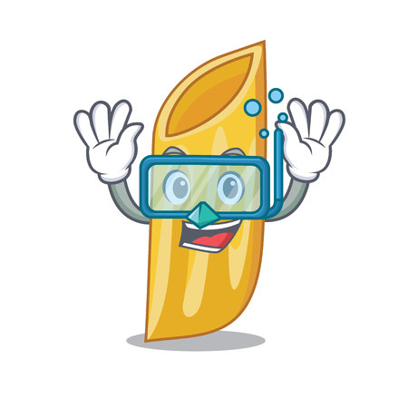 Diving penne pasta character cartoon vector illustration Illustration