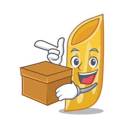 With box penne pasta character cartoon vector illustration Vettoriali