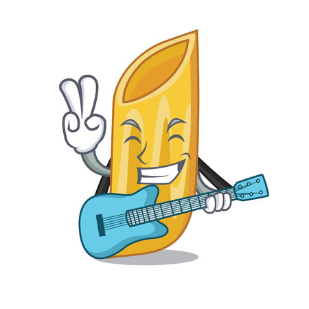 With guitar penne pasta character cartoon vector illustration