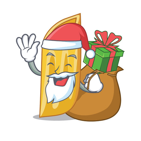 Santa with gift penne pasta character cartoon vector illustration Illustration