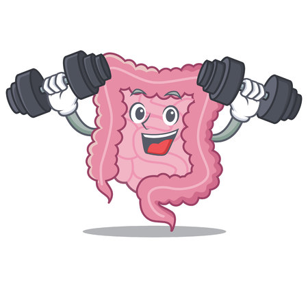 Fitness intestine character cartoon style Illustration