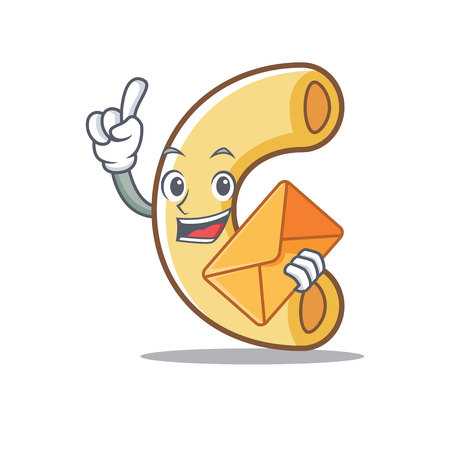 With envelope macaroni character cartoon style illustration.