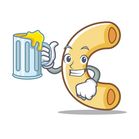 With juice macaroni mascot cartoon style illustration.