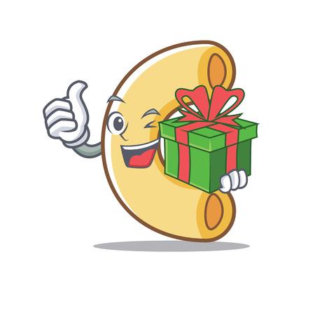 With gift macaroni mascot cartoon style illustration. 일러스트