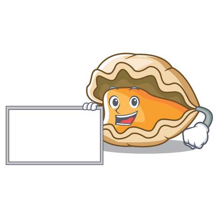 Mit Bord Oyster Charakter Cartoon-Stil Standard-Bild - 98032592