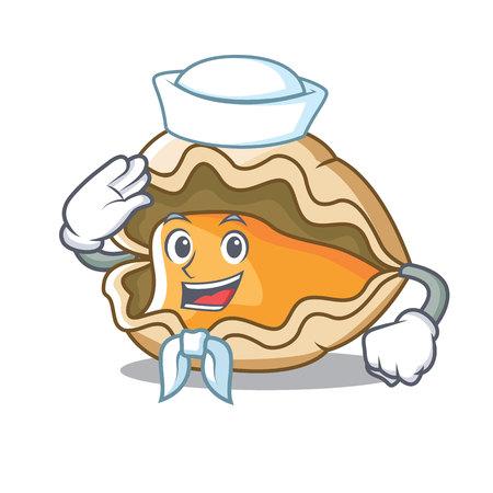 Sailor oyster character cartoon style Illustration