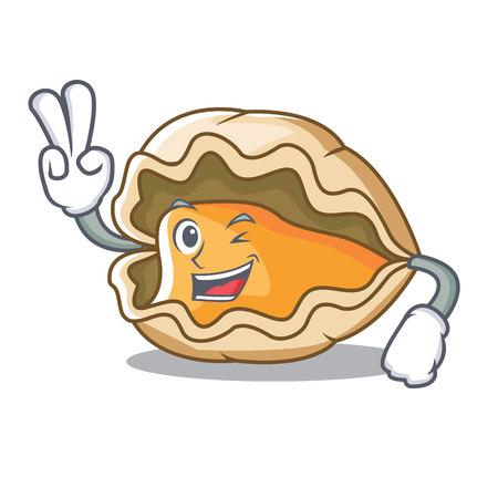 Zwei Finger Oyster Charakter Cartoon-Stil Standard-Bild - 98033545
