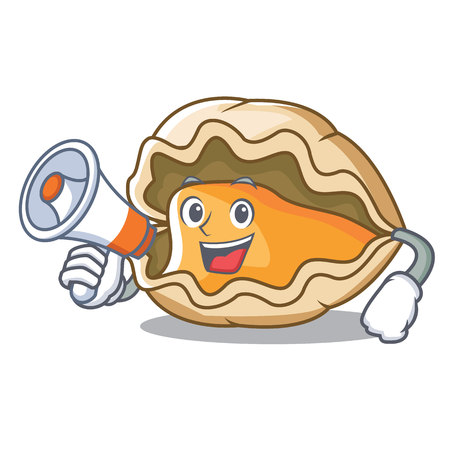 With megaphone oyster character cartoon style vector illustration