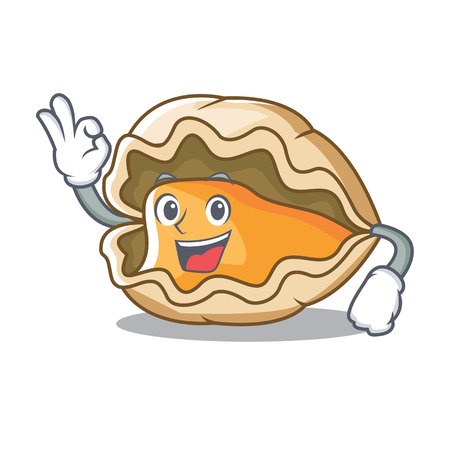 Okay oyster character cartoon style vector illustration  イラスト・ベクター素材