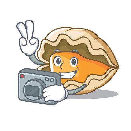 Photographer oyster mascot cartoon style