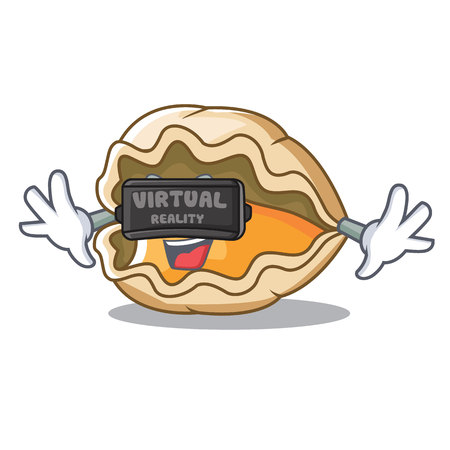 With virtual reality oyster mascot cartoon style vector illustration