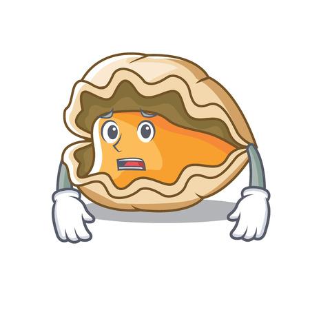 Afraid oyster mascot cartoon style vector illustration