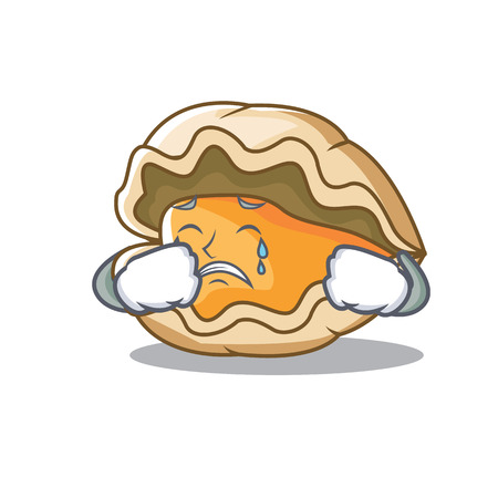 Crying oyster mascot cartoon style