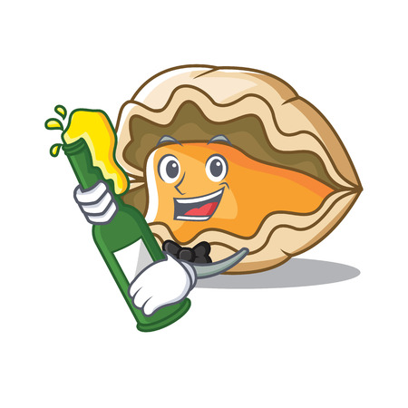 With beer oyster mascot cartoon style vector illustration Illustration