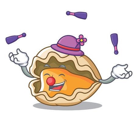 Juggling oyster mascot cartoon style