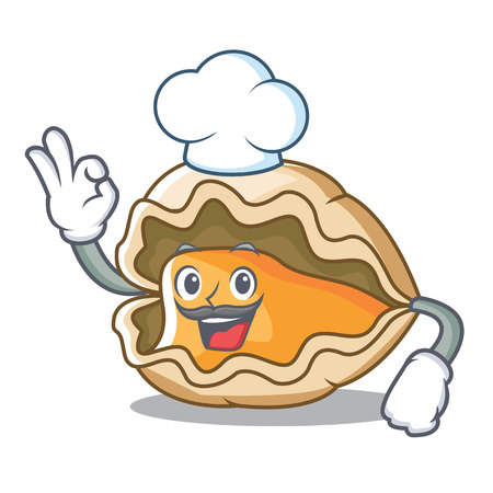 Chef oyster character cartoon style