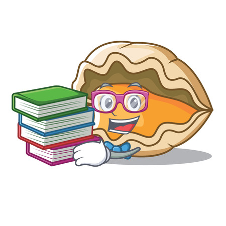 Student with book oyster mascot cartoon style vector illustration Stock Photo