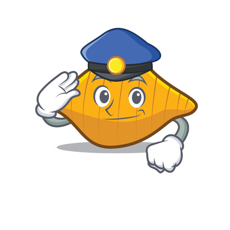 Police conchiglie pasta character cartoon illustration. Ilustracja