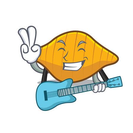 With guitar conchiglie pasta mascot cartoon illustration.