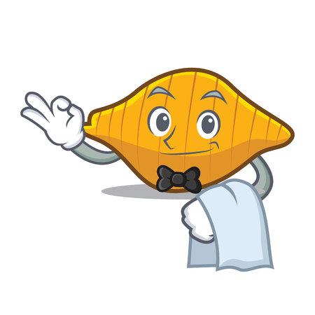 Waiter conchiglie pasta mascot cartoon illustration. Illustration