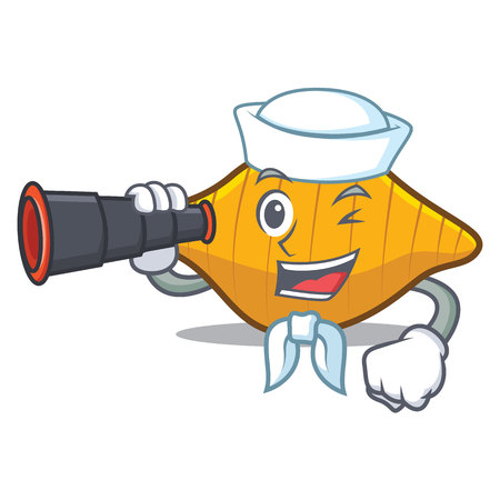 Sailor with binocular conchiglie pasta mascot cartoon
