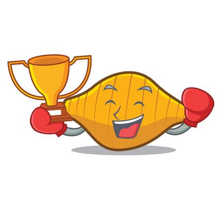 Boxing winner conchiglie pasta mascot cartoon Illustration