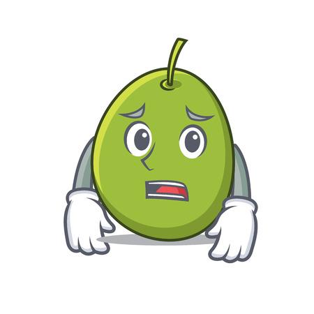 Afraid olive mascot cartoon style