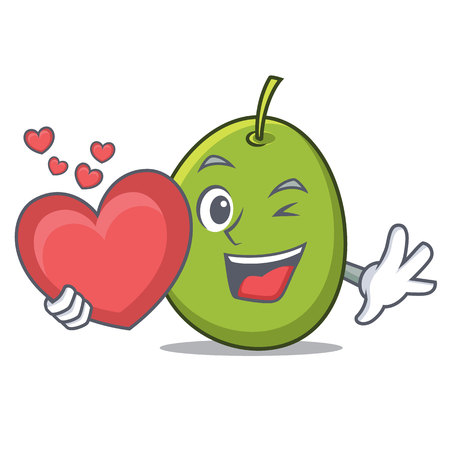With heart olive mascot cartoon style vector illustration. Illustration