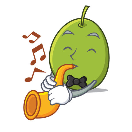 With trumpet olive mascot cartoon style vector illustration.