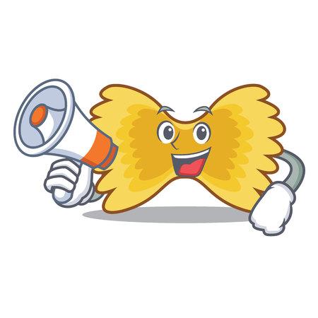 Farfalle pasta cartoon character with megaphone on white background. Illustration