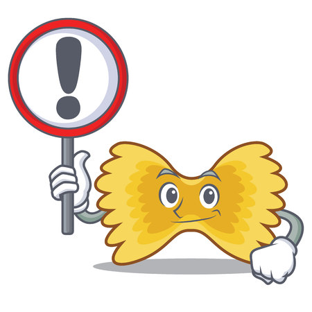 With sign Farfalle pasta character cartoon vector illustration