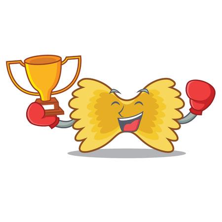 Boxing winner Farfalle pasta mascot cartoon colored vector illustration.