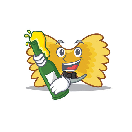 With beer Farfalle pasta mascot cartoon colored vector illustration. Illustration