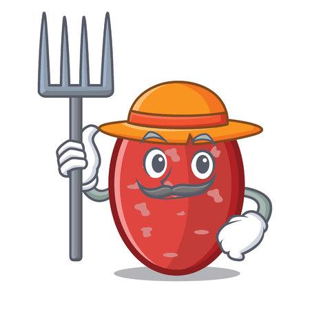Farmer salami character cartoon style vector illustration