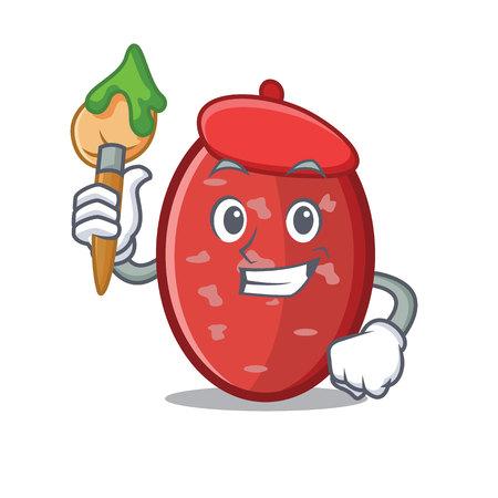 Artist salami character cartoon style vector illustration