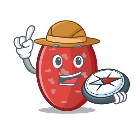 Explorer salami mascot cartoon style