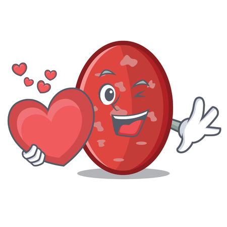 With heart salami mascot cartoon style Illustration