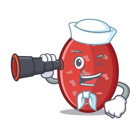 Sailor with binocular salami mascot cartoon style