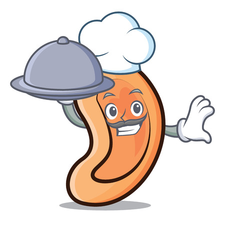 Chef with food Ear mascot cartoon style vector illustration