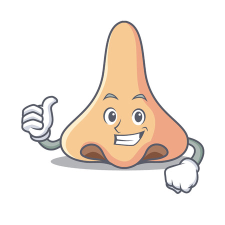 Thumbs up nose character cartoon style vector illustartion Stock Illustratie